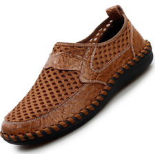 US 10 Brown Mens Hollow Out Leather Fisherman Casual Shoes Outdoor Beach Yoooc