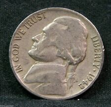 1942 D Jefferson Nickel, Type 1, Circulated, Mintage of 13.9 Mil, Scarce.