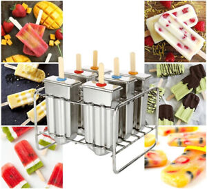 6pcs 10pcs Stainless Steel Ice Cream Sticks Mold Ice Lolly Popsicle Pop Holder
