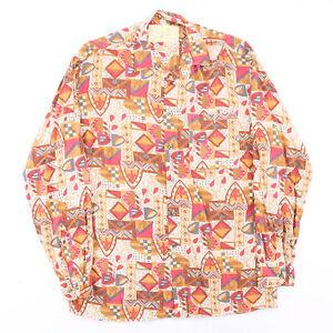 Vintage CARMARQUE  Red 90s Long Sleeve Crazy Print Shirt Mens M