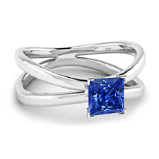 1.20 CTW Princess Cut Sapphire 14K White Gold Finish Engagement Wedding Ring 5 6