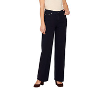 Isaac Mizrahi Live! Regular 24/7 Denim Wide Leg 5-Pocket Jeans,Black Size Reg 16