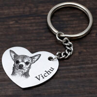 Personalized Pet Portrait Keychain Custom Dog Picture Keyring Pet Memorial Gift