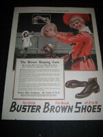1920 PAPER AD 20s FOOTBALL Buster Brown and Tighe Boston Terrier Shoes Print Ad