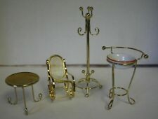 Dollhouse Miniature Brass Furniture Coat Rack Rocking Chair Table Wash Stand
