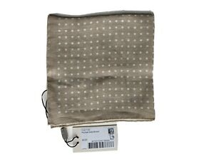 Suitsupply Pocket Square Light Brown Polka Dot BNWT Linen - Made in Italy