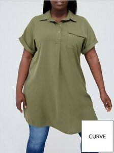 V by Very Curve Longline Utility Shirt - Khaki Size 16