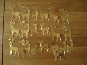 20 x Die Cut Reindeer Cut from Gold Coloured Card stock