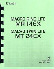 Canon Macro Ring Lite MR-14EX Macro Twin Lite MT-24EX Instruction Manual reprint