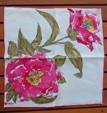 Vintage Vera Neumann Linen Floral Square Cloth Napkin Retro Scrap Fabric