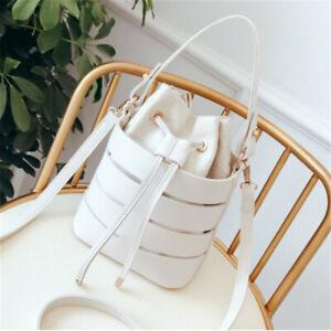 Black PU Leather Women Bucket Bag Large Capacity New Travel 1PC Messenger Bag SG