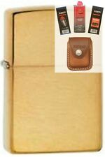 Zippo 204b brass without letters Lighter + FUEL FLINT WICK POUCH GIFT SET