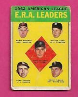 1963 TOPPS # 6 AMERICAN LEAGUE E.R.A  LEADERS  VG CARD (INV# C3151)