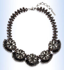 CAPRI COLETTE Silver-Tone Fleurette Black Crystal Collar Necklace