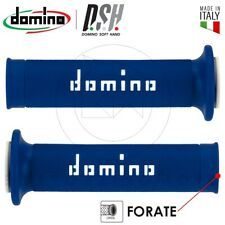 Coppia manopole Domino forate Blu Bianco Fustellate Universali Moto D.22-24