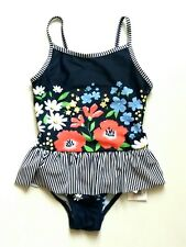 New Pretty Blue Floral Swimming Costume Swimsuit / Swimwear 2-3 yr BNWT