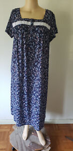 NWT Womens Long S/S Nightgown Croft & Barrow Navy Floral 2 Cotton Blend Knit