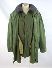 Vintage Green Canvas Military Army Coat w/ Liner Jacket Heavy Winter Coat Small
