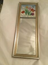 EXC COND Vintage Entryway Wall Mirror With Handpainted Tile Top and Wood Frame