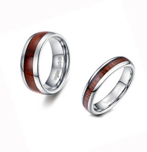 Comfort Fit Tungsten Simple Couple Ring Koa Wood Inlay Dome Token Promise Lovers