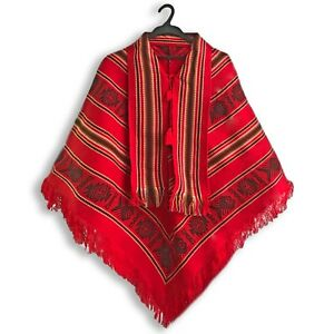 Unisex Southwestern Red Poncho Aztec Cape Coat Jacket Pullover Handmade