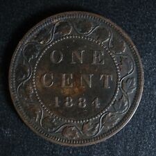 1 cent 1884 Obv. 2 Canada one penny copper large Queen Victoria c ¢ VF-30