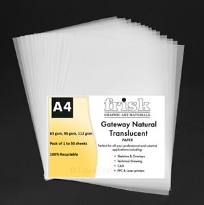 Gateway Printable Natural Translucent Tracing Paper A4 Sheet 63gsm,90gsm,112gsm