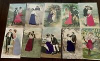 ~Lot of 10~SILK~Men & Women~Victorian Couples~Romance Romantic Postcards- p99