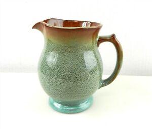 "Nicodemus Pottery #84 Pitcher 20 oz Green Speckle Rust Lip  5 1/2"" ~EC~ T167"