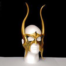 Loki Cosplay Horns Viking mask GOLD W/ GREEN Thor Halloween Mask CosPlay Mask