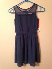 NEW Ruby & Bloom Size 8 Blue Girl's Mesh Dress Nordstrom Sleeveless Modest