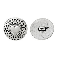 6 Metal Shank Buttons Round Antique Silver Heart Pattern 18.0mm Free UK Postage