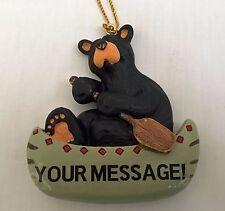 Big Sky Carvers Bearfoots Bear Paddle Canoe Ornament, Personalizable