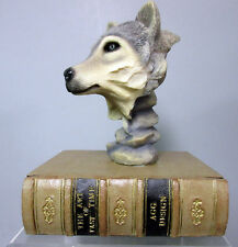 New Sculpted Grey (Gray) Wolf on Book Trinket Box Figurine Wolves Nib