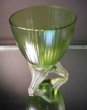 Kralik Art Glass Pair Iridescent Ribbed Bullet Vase w/ Tri Foot Art Deco Czech