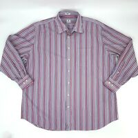 Peter Millar Button Up Shirt Mens 2XL Tailored Fit Long Sleeve Colorful Striped