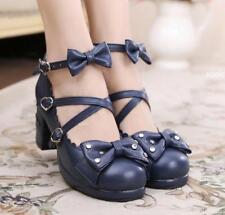 LadiesLolita Round Toe Bowknot Sweet Ankle CuteBuckle Block Heels Girls Shoes Sz