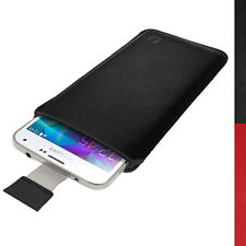 Black Leather Skin Pouch for Samsung Galaxy S5 MINI SM-G800 Pull Tab Case Cover
