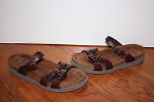 Womens Mephisto Brown Leather Slides Sandals Size 41