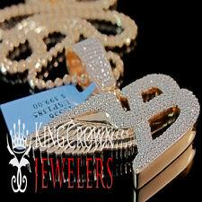 10K Rose Gold Silver Bentley Flying B Symbol Simu Diamond Pendant Chain 1.5''