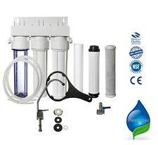 NEW 3 STAGE UNDER SINK DRINKING WATER FILTER SYSTEM TAP KIT FAUCET + ACCESSORIES