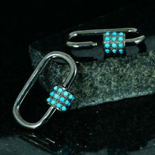 Genuine Turquoise Gemstone Carabiner Lock Clasp Finding Sterling Silver Jewelry