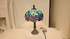 Older Slag Glass Lamp-Small Desk, Boudoir-Raised Teardrops Blues/Greens-WORKING