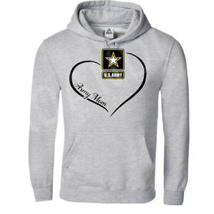 🔥 US Army Mom Hoodie Proud Military Ladies USA Heart Adults Unisex Pullover
