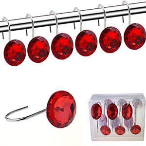 FINROS Shower Curtain Hooks Diamond Shape Shower Rings/Round Acrylic Decorative