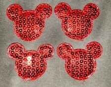 4PC Mickey Mouse Appliques Sew On Patch Sequin Padded Embellishment DIY Crafts