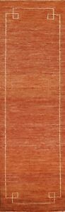 """Bordered Gabbeh Contemporary Oriental Runner Rug Hand-knotted Wool 2' 6"""" x 9' 7"""""""
