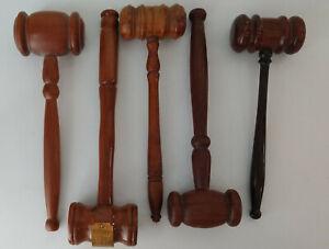 5 Vintage Wooden Gavels Gavel Wood Judge Lawyer Auctioneer Hammer ( Lot of 5 )