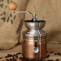 Vintage Copper Coloured Stainless Steel Manual Coffee Bean Mill Grinder Crank