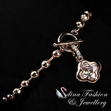 18K Rose Gold GP Simulated Diamond Four Leaf Clover Beaded Toggle Clasp Bracelet